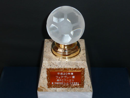 平成21年5月 天竜東地区サッカー少年委員会より平成20年度フェアプレー賞を受賞。