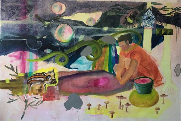 Sommersby 2019, 120 x 170 cm, Öl und Acryl auf Leinwand