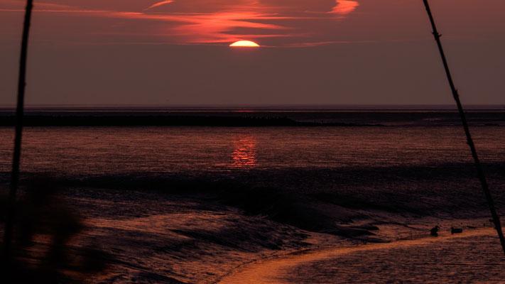 Sonnenuntergang am Siel von Spieka-Neufeld