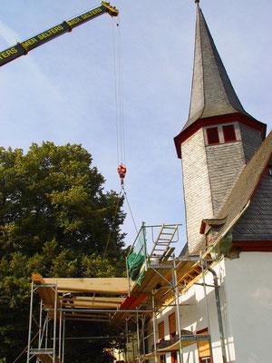 Ev. Kirche Kraftsolms: -Schwammsanierung / -Sanierung der gesamten tragenden Turm und Dachstuhlkonstruktion