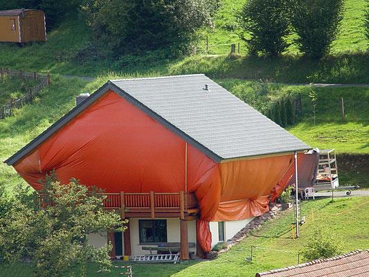 Blockhaus:  -Bekämpfender Holzschutz im Heißluftverfahren