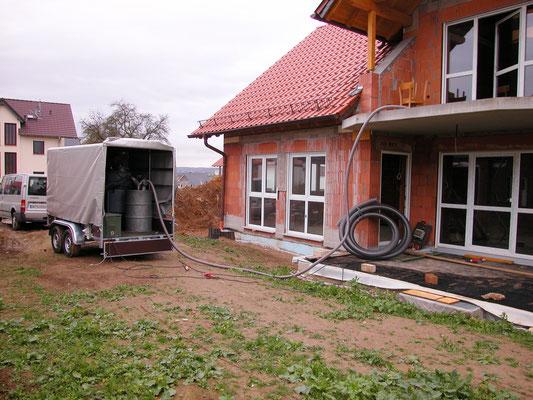 Neubau Hüttenberg: -Schimmelpilz Sanierung / -Sandstrahlen der Dachstuhlkonstruktion