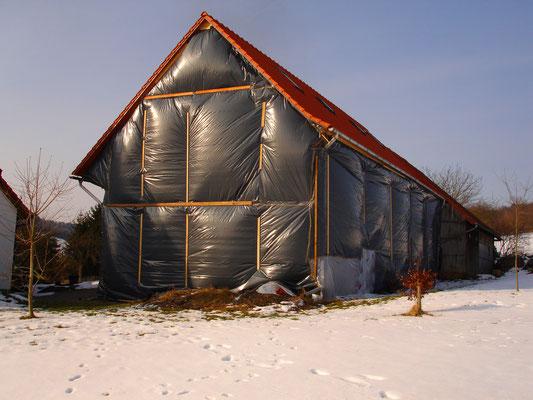 Fachwerksscheune Eichenzell: -Bekämpfender Holzschutz im Heißluftverfahren