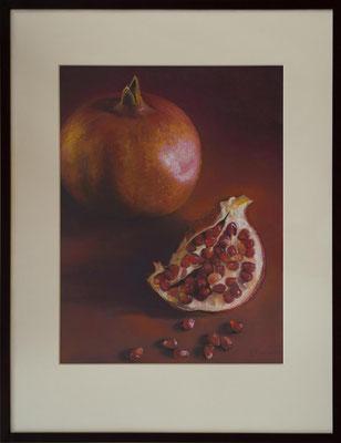 Stillleben mit Granatäpfel 65x50, Pastell eingerahmt Passepartout, Holzrahmen 90x70