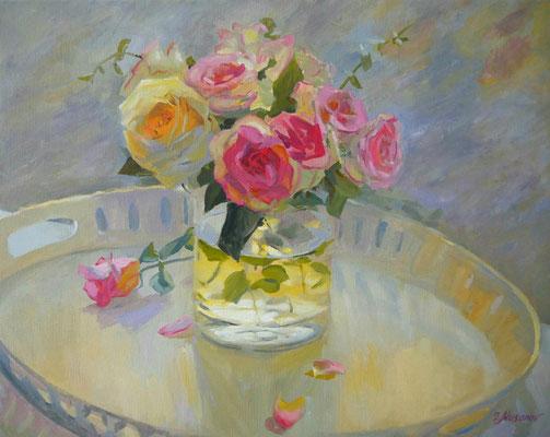 Stillleben mit Blumen auf der Fensterbank 40 x 50 x 2, Öl auf Leinwand