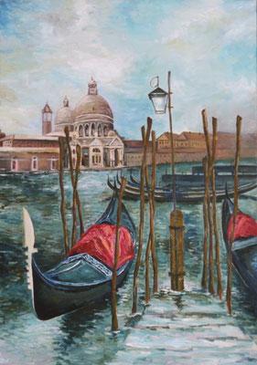 """""""Gondeln von Venedig"""" 100x70, Öl auf Leinwand"""
