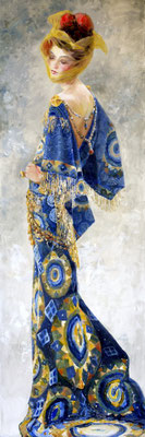 """The Woman in Blue"" 150x50, Öl auf Leinwand"