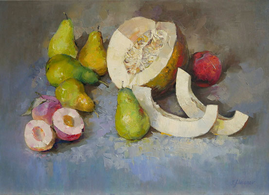 Stillleben mit Obst 50x70, Öl auf Leinwand