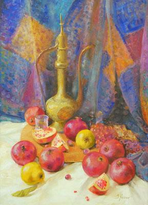 Orientalisches Stillleben 70x50, Öl auf Leinwand