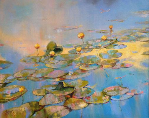 """ Libellen am Teich"" 80x100, Öl auf Leinwand"