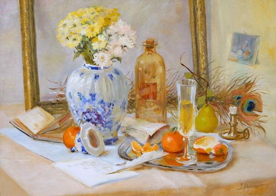 """""""Der Tisch des Dichters"""" 50x70, Öl auf Leinwand"""