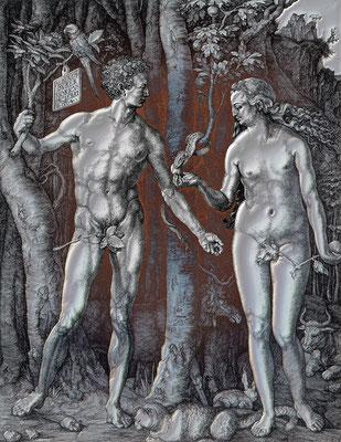 ADAM und EVA / METALLIC rot / UNIKAT / 2018 / 10.000 x 8.000 pix