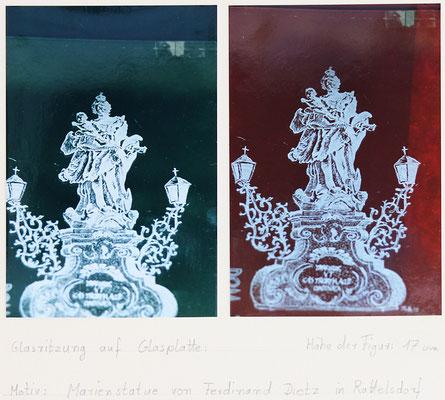 Fensterglas Ritzung, Marienstatue v. Ferdinand Dietz, aus meiner Ortschaft Rattelsdorf / 1980