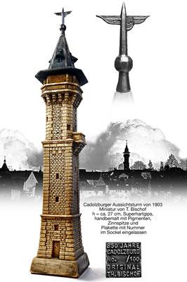 Miniatur in Super-Hartgips - Nach eigenen Fotografien u. Bauplan modellierter Turm, mit Silikon abgeform, 100er Auflage / 2007