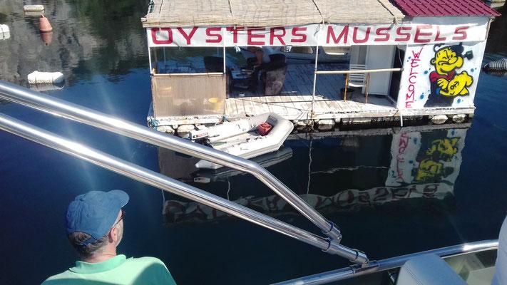 Unterwegs Muscheln- und Austernkauf direkt vom Schiff aus