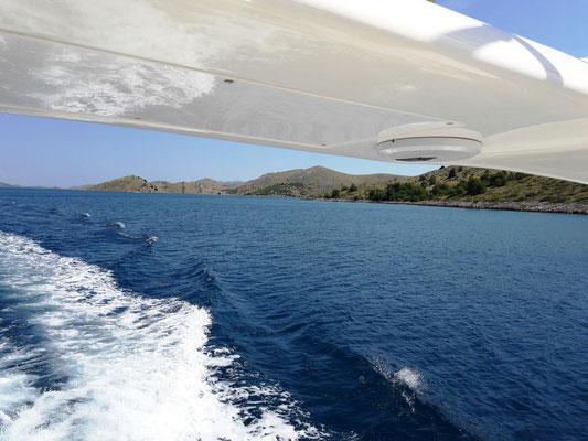 Aussicht unterwegs von der Flybridge