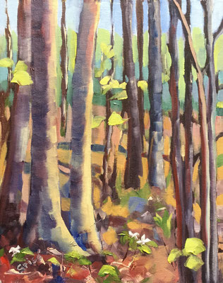Two Trilliums - 8x10 oil on canvas board - unframed       125. + shipping