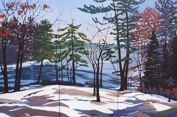 Washago Winter Melt   72x48 triptych - oil on birch box panels.    5200.  CA          To purchase or view, please contact me.
