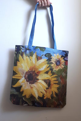 Tote Bag - 100% Linen - Sunflowers