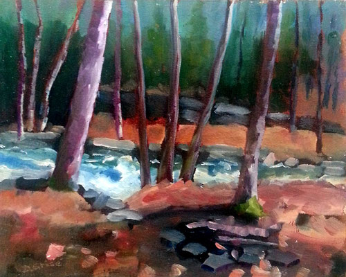 Oxtongue River Rapids Trail  - Algonquin Park  -    10x8 oil - unframed   -     125. + shipping    To purchase or view, please contact me.