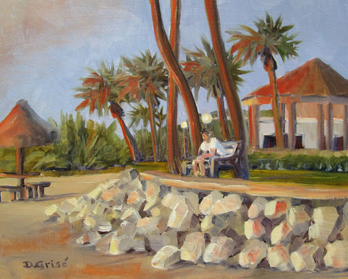 Enjoying The Sunset - Bermuda Bay Resort, St.Petersburg, FLA   -  10x8 oil - unframed   -    125.