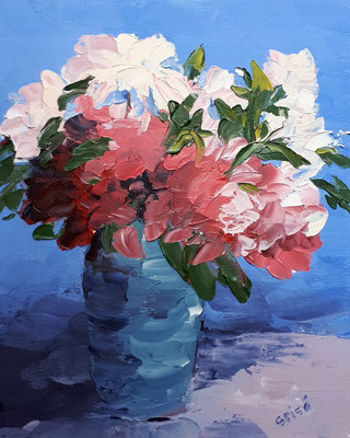 Peonies In Blue Vase - 10x8 oil on canvas board - unframed   $125. CA + shipping - Contact me to view or purchase.
