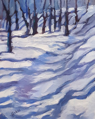 Winter Blue 8x10 oil   - A lesson in painting snow.                   75.