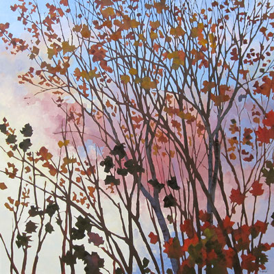 End Of October   48x48 oil on gallery birch  4600. CAD no frame needed. To purchase or view, please contact me.