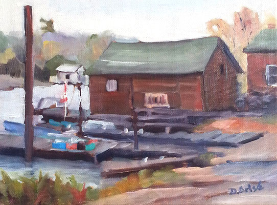 Killarney Boatyard  -  8x6 oil - unframed  - 85.