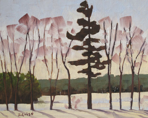 Early Snow 12    10x8 oil             Demo: snow, tree form and using transparent glaze     75