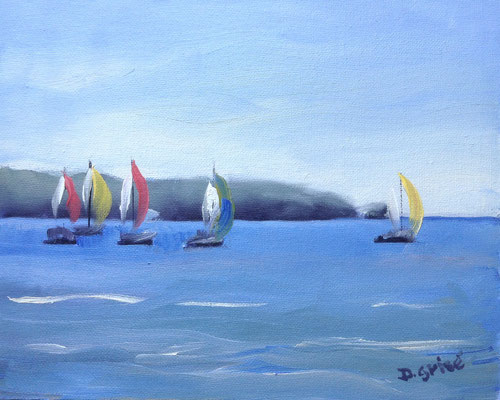 Sailing 4        10x8 oil              Lesson in basic sky, water & distant landmass. boats for colour interset.                       75