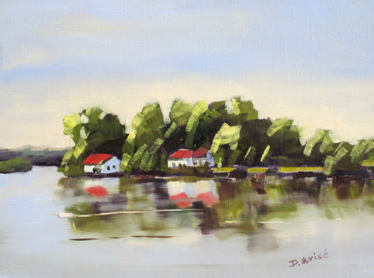 Port Severn 4  10x8 oil      Demo showing reflections on still water.                           75