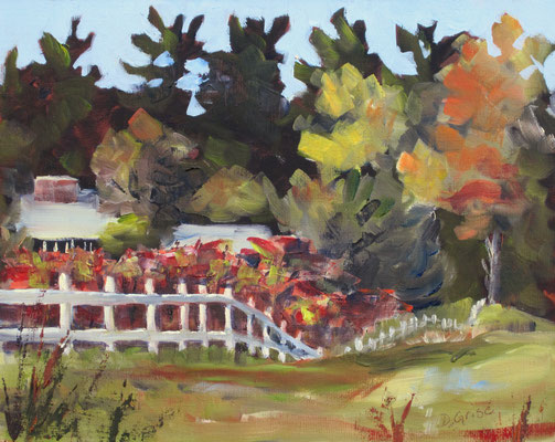 White Fence and Sumac - Barrie 10x8 oil - unframed  -     125.