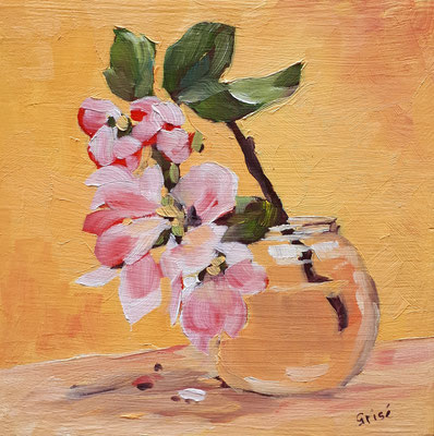 Apple Blossoms In Jar - 6x6 oil on birch box panel -  $125. CA + shipping - Contact me to view or purchase.