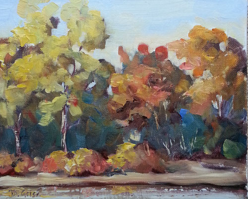 By The Pond 1     10x8 oil            Lesson in mixing and muting fall colours.              75