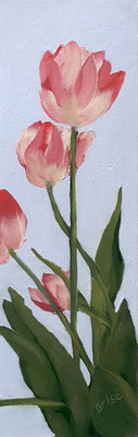 Tulips - 3x9 oil on canvas board - unframed   40. CAD + shipping                                                  #ff001