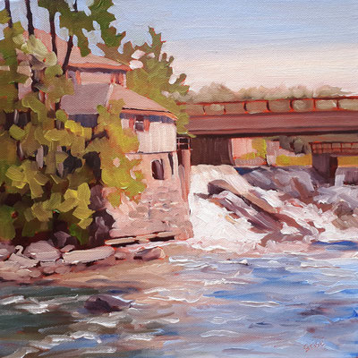 Bird's Mill - Bracebridge   12x12 oil on gallery style canvas   On exhibit at The Barrie Art Club