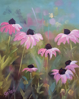 Feild Flowers In Pink - 10x8 oil on canvas board - unframed   $125. CA + shipping - Contact me to view or purchase.