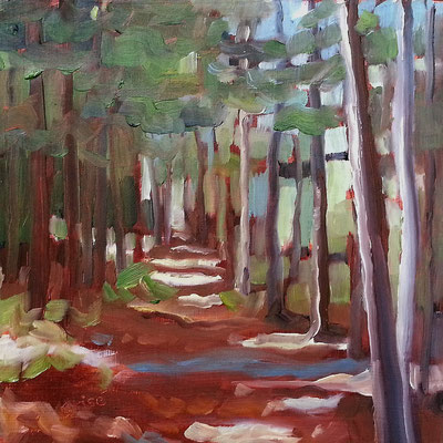 Sunlit Trail - 6x6 birch box panel -  125. + shipping    To purchase or view, please contact me.