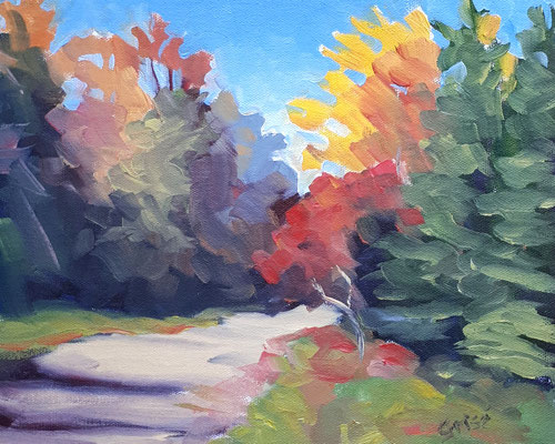 Autumn Road 10  10x8 oil             Lesson in mixing and muting fall colours.              75