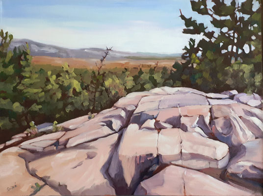 Granite Ridge View (Killarney)  24x18 oil on regular canvas. Framed in simple natural wood floater frame.   540. CA  To purchase or view, please contact me.