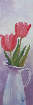 Tulips In White Jug - 3x9 oil on canvas board - unframed   40. CAD + shipping