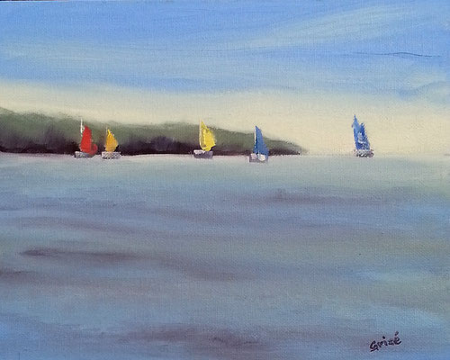 Sailing 7  10x8 oil              Lesson in basic sky, water & distant landmass. boats for colour interset.                       75