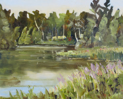 The Pond       10x8 oil - unframed       125. + shipping    To purchase or view, please contact me.
