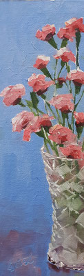 Carnations And Crystal - 3x9 oil on canvas board - unframed   40. CAD + shipping