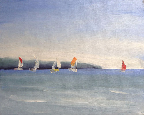 Sailing 5        10x8 oil              Lesson in basic sky, water & distant landmass. boats for colour interset.                       75
