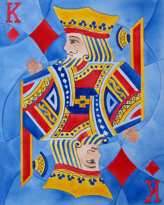 King Of Diamonds   16x20 watercolour on canvas     239. CAD unframed .  18x14 oil    Gold Crackle & Black floater frame.