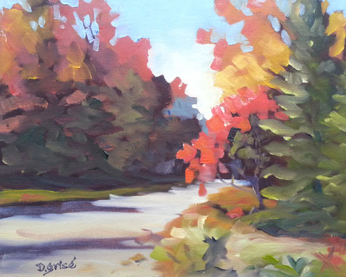 Autumn Road 8  10x8 oil             Lesson in mixing and muting fall colours.              75