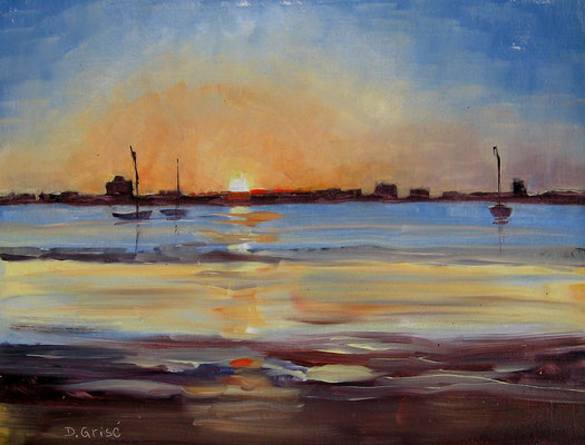 Sunset Over St. Pete Beach - Bermuda Bay Resort, St.Petersburg, FLA  -   10x8 oil - unframed -      125.
