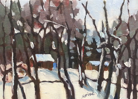 The Wood Shed  -   7x5 oil - unframed  - 75. + shipping    To purchase or view, please contact me.